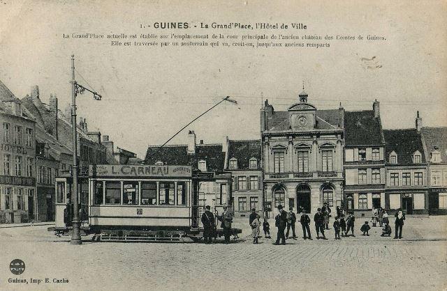 Guines pas de calais la place de l hotel de ville le tramway