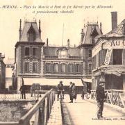 Hirson (Aisne) CPA la place du marché 1914-1918