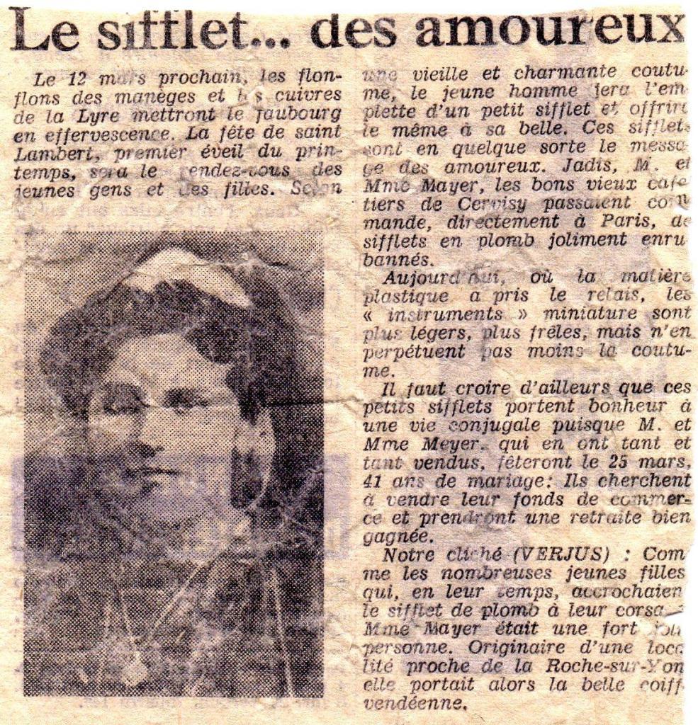 Presse 1960 : Le sifflet des amoureux