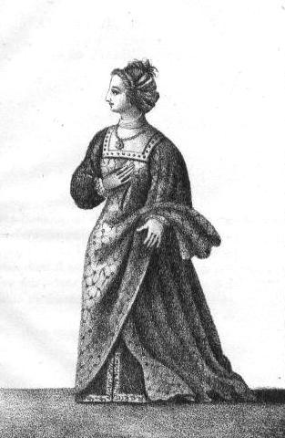 Jeanne de Genève, son épouse, estampe du XIXe