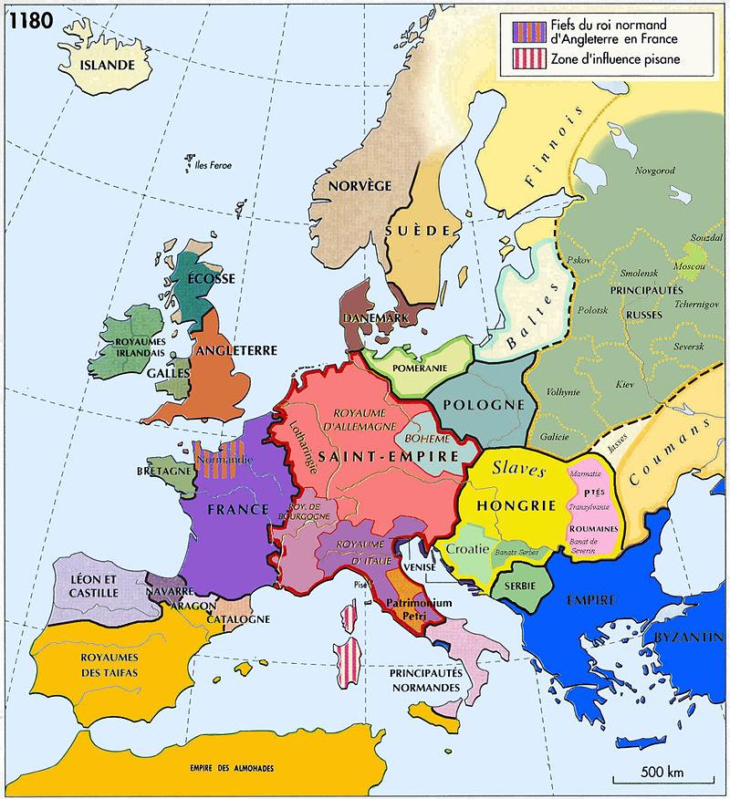 L'Europe médiévale en 1180