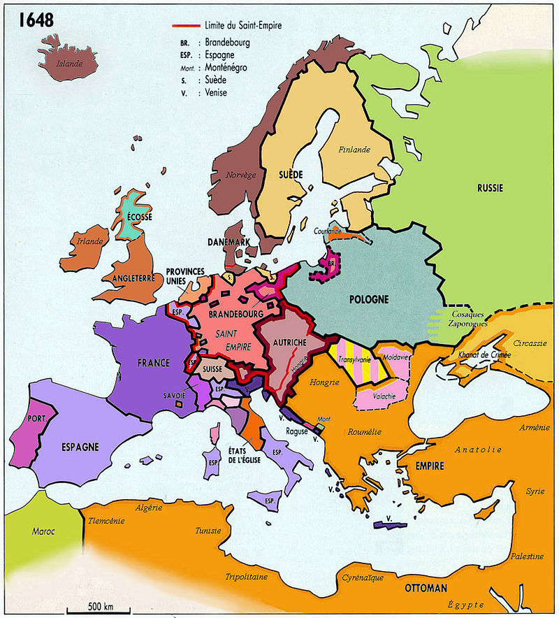 L'Europe en 1648, au Traité de Paix de Munster