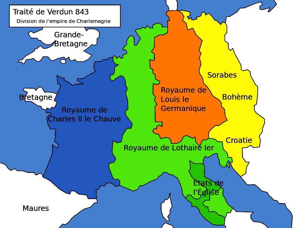 La division de l'Empire de Charlemagne en 843
