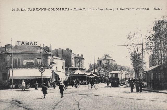 La garenne colombes 92 la place de belgique rond point de charlebourg cpa
