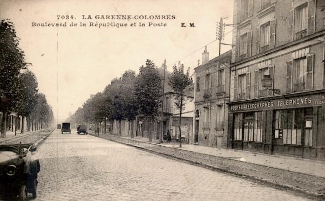 La garenne colombes 92 le boulevard de la republique et la poste cpa