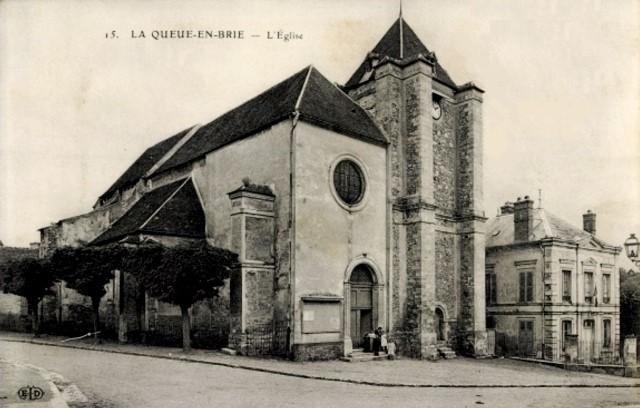 La queue en brie val de marne l eglise saint nicolas et la mairie cpa