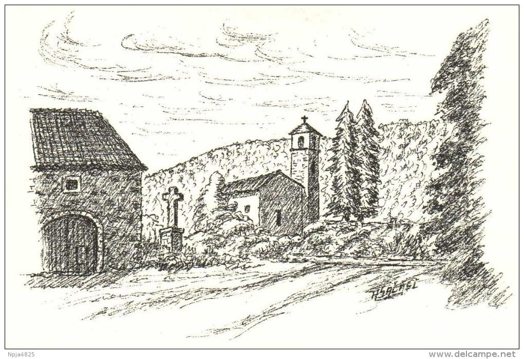 Le Clapier  (Aveyron) Gravure de la chapelle Saint-Xist