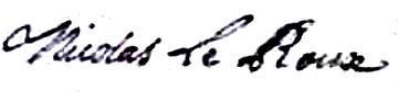Leroux Nicolas (1716/1745), sa signature en 1738