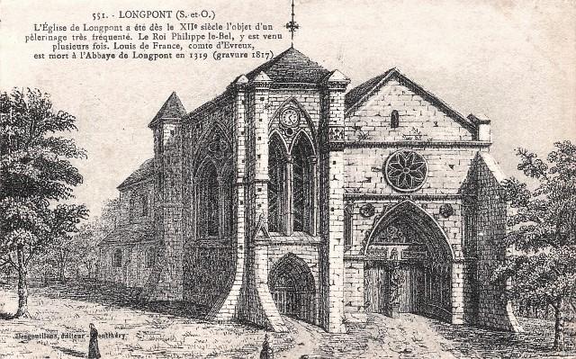 Longpont sur orge essonne la basilique notre dame gravure 1817