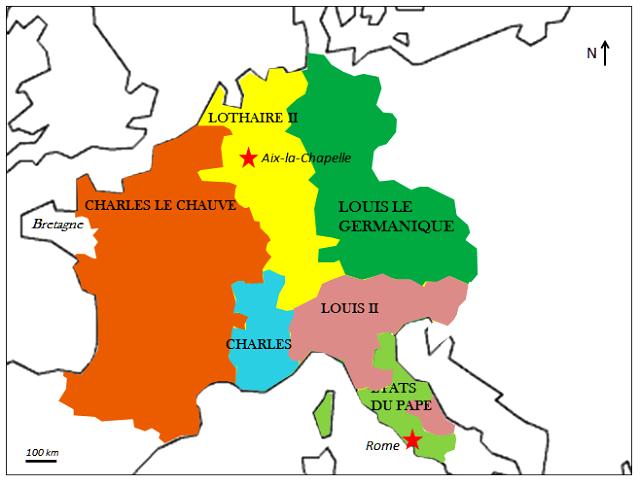 Lothaire Ier, carte Traité de Prüm