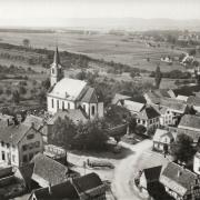 Lupstein 67 l eglise saint quentin et la place cpa