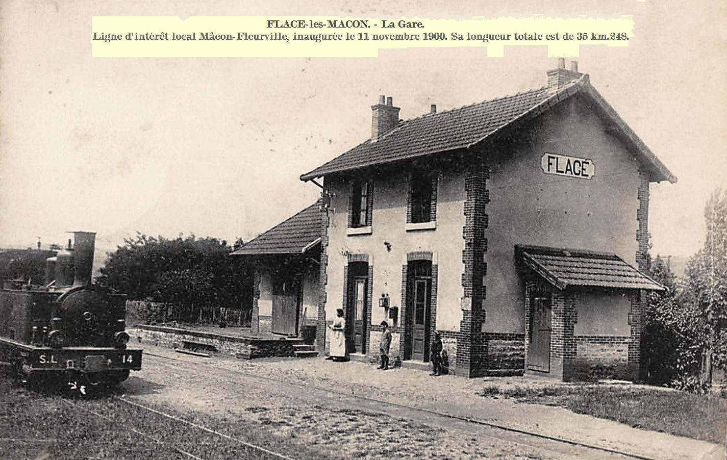 Mâcon (71) Flacé-les-Mâcon, la gare CPA