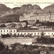 Menton 06 le winter palace et la gare cpa