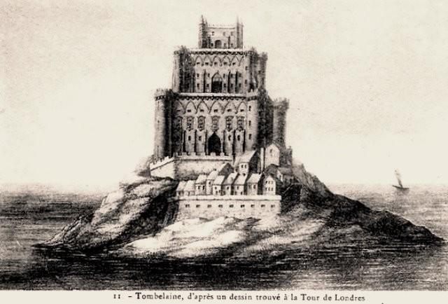 Mont saint michel manche le rocher de tombelaine dessin