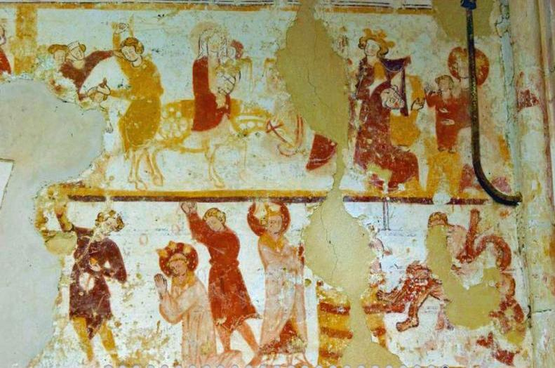 Montigny-les-Condé (Aisne) église Saint-Eloi peintures murales du XIIe