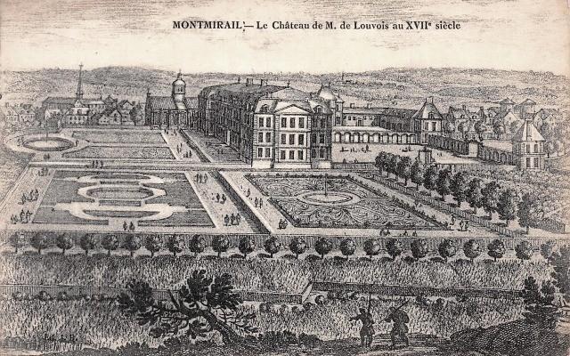 Montmirail (51) Le château au XVIIème siècle, gravure