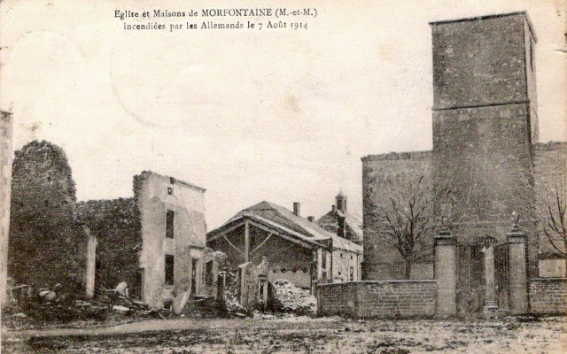 Morfontaine 54 incendie 1914 cpa