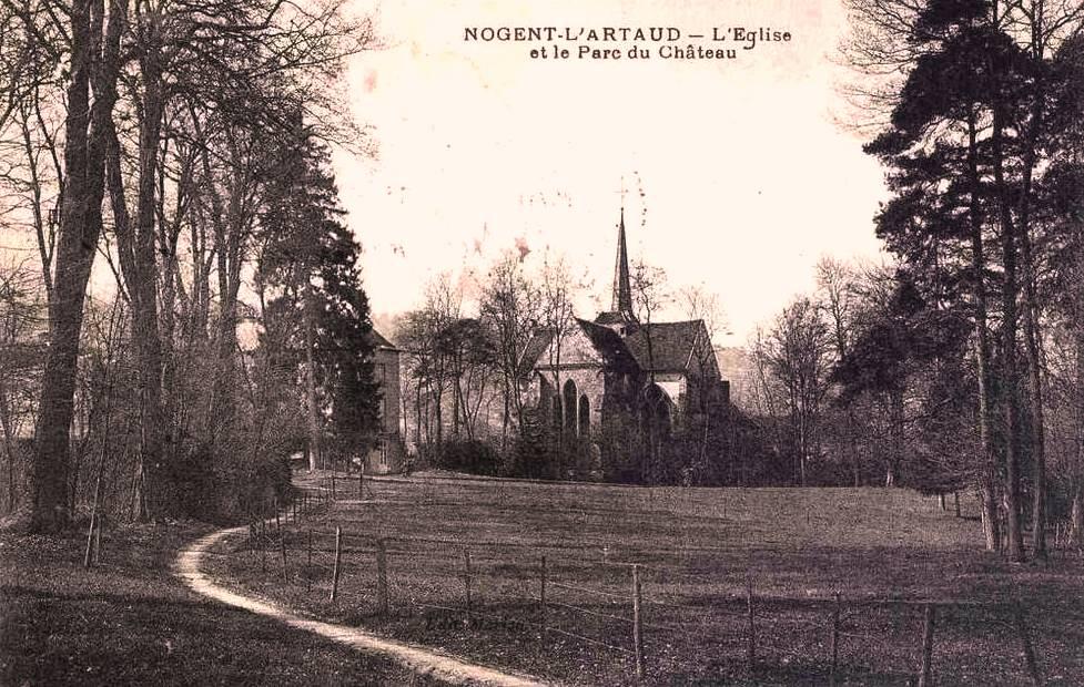 Nogent l'Artaud (Aisne) CPA Eglise et parc du château