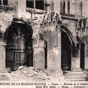 Noyon oise cpa 1914 1918 cathedrale portail