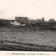 Noyon oise cpa 1917 la gare