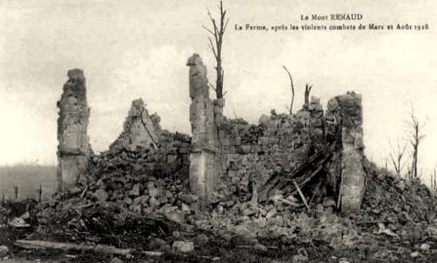 Noyon oise cpa 1918 mont renaud ruines de la ferme