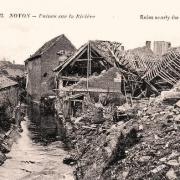 Noyon oise cpa 1914 1918 ruines sur la riviere