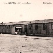 Noyon oise cpa gare provisoire 1919