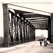 Noyon oise cpa pont du canal du nord avant 1918