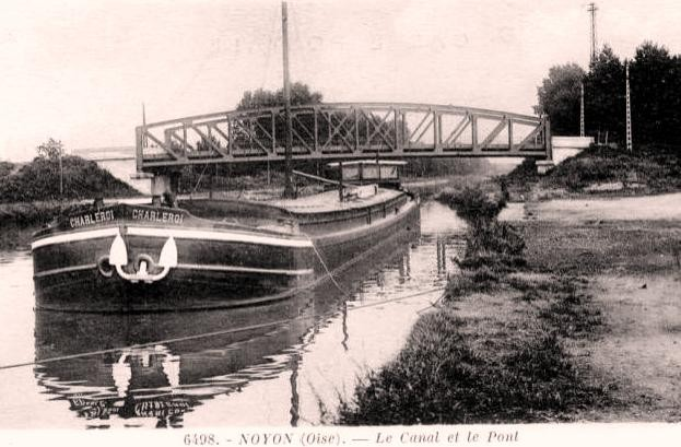 Noyon oise cpa pont et canal