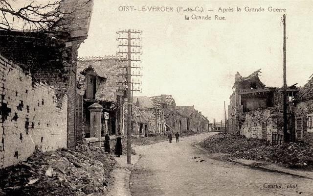 Oisy le verger pas de calais la grande rue apres 1918 cpa