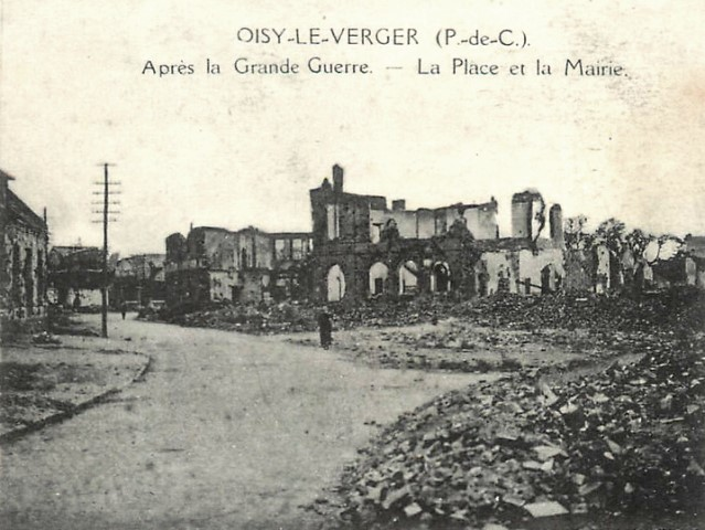 Oisy le verger pas de calais la mairie apres 1918 cpa