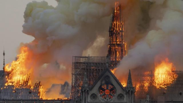 Paris 75 la cathedrale notre dame le 15 avril 2019