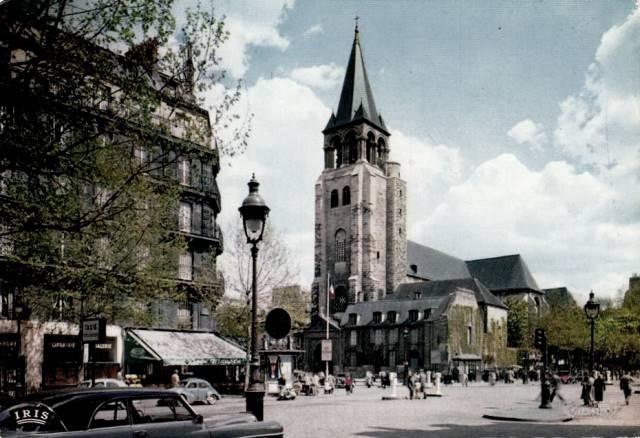 Paris 75 un lampadaire eglise saint germain des pres cpa