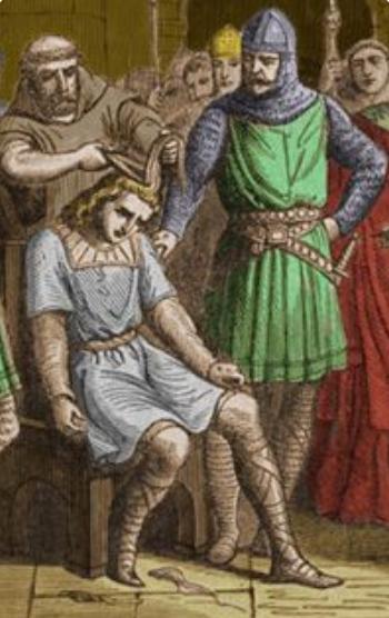 Pépin III dépose Childéric III (tonsure)
