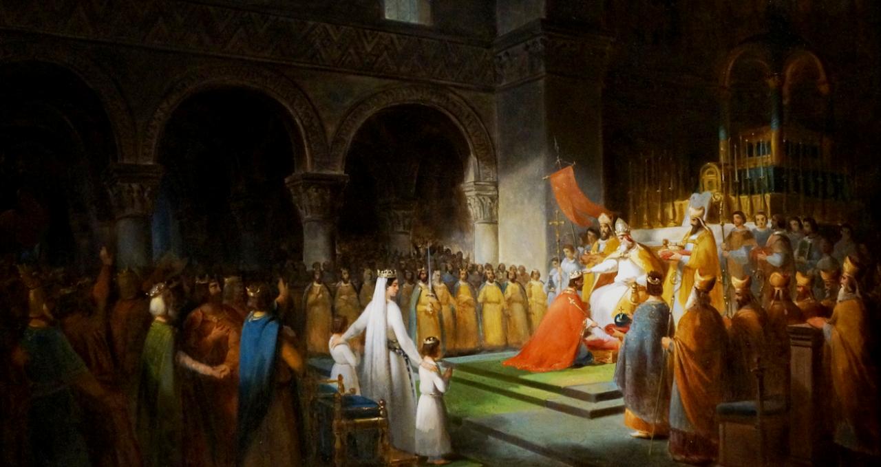 Pépin III, sacre abbaye de Saint-Denis en 754