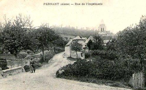 Pernant (Aisne) CPA La rue de l'imprimerie