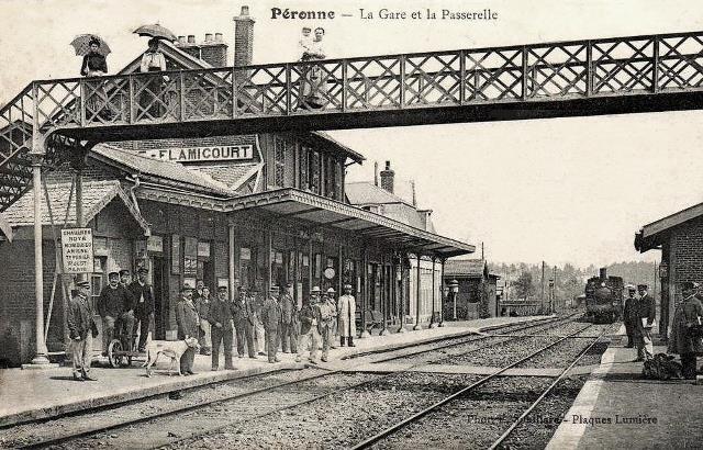 Peronne somme la gare vers 1909 1er batiment les quais cpa