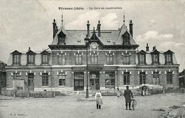 Peronne somme la gare vers 1909 2eme batiment cpa