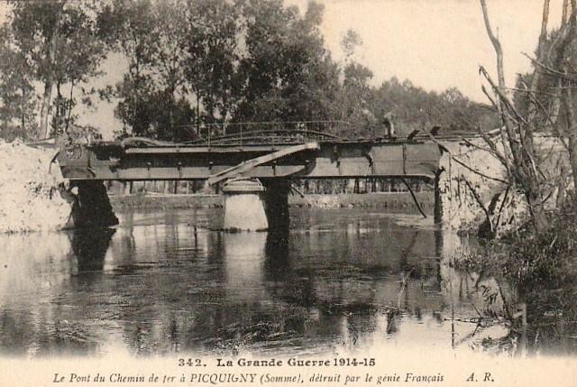 Picquigny somme 1914 1918 le pont du chemin de fer cpa