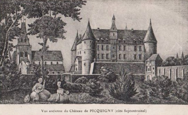 Picquigny somme le chateau fort gravure