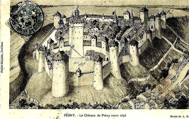 L'ancien château de Prény avant 1636, reconstitution