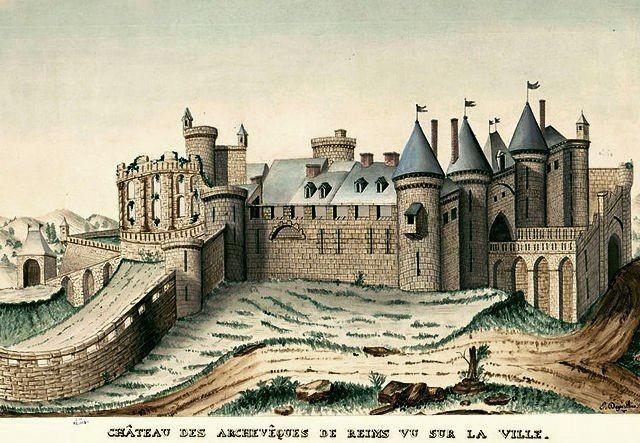 Reims 51 le chateau de la porte de mars gravure