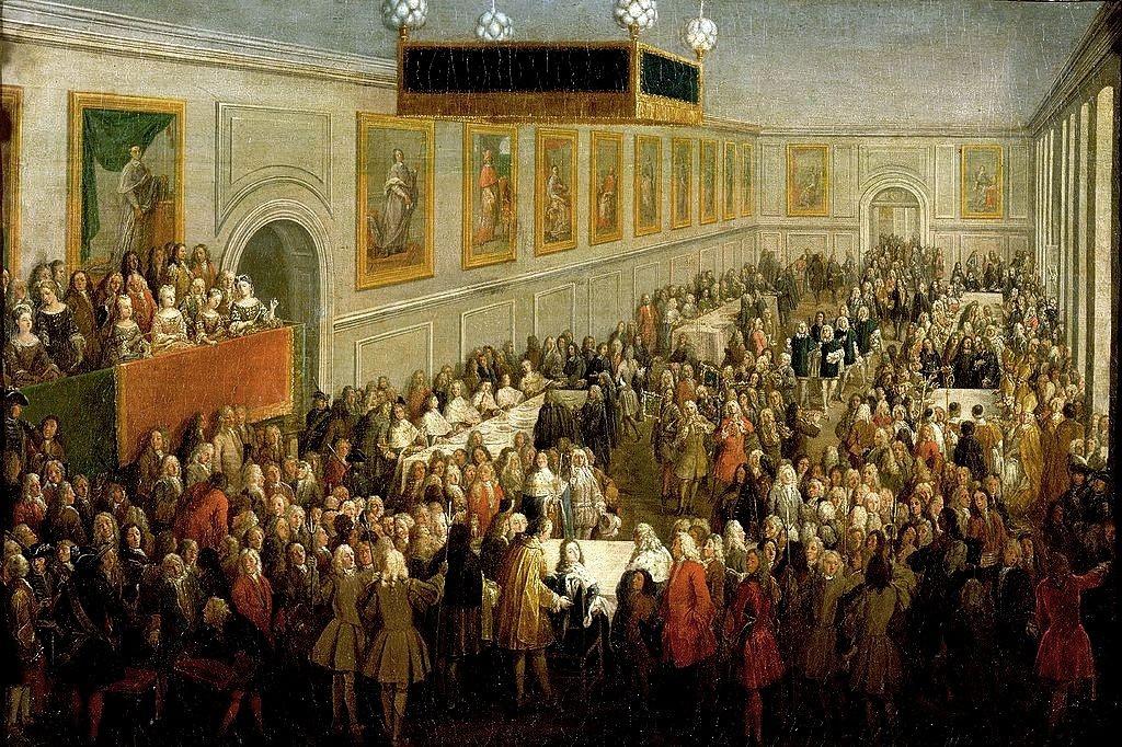 Reims 51 le palais du tau salle du banquet du sacre de louis xv gravure