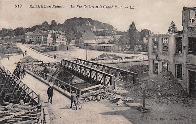 Rethel (08) 1918, les ruines du grand pont CPA