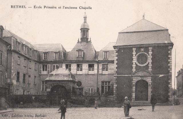 Rethel (08) L'école et la chapelle CPA