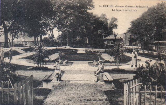 Rethel (08) Le square de la gare avant guerre CPA