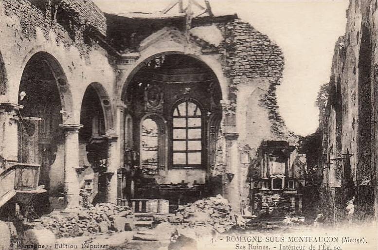 Romagne-sous-Montfaucon (Meuse) 1914-1918, ruines de l'église CPA