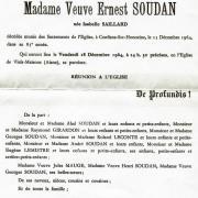 Augustine Isabelle Saillard, faire part décès 1964