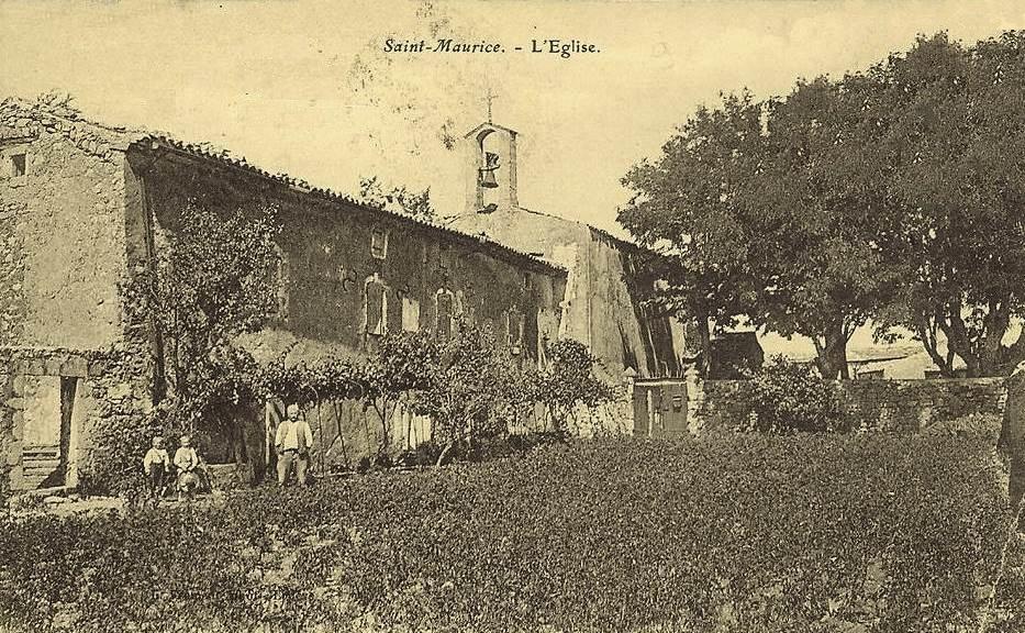 Saint-Maurice-Navacelles (Hérault) L'église en 1910 CPA