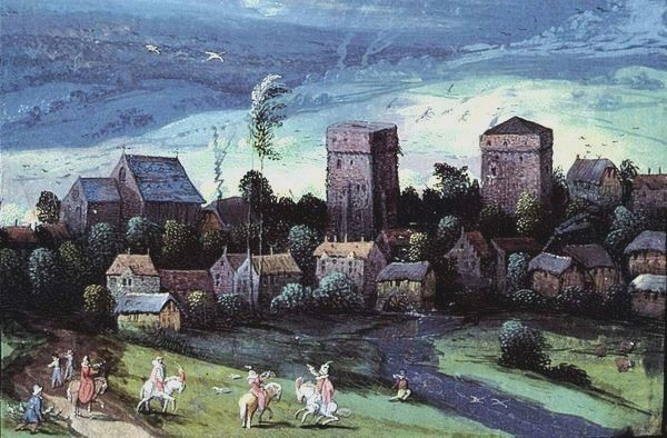 Saint python 59 le chateau les tours en 1601 peinture d adrien de montigny